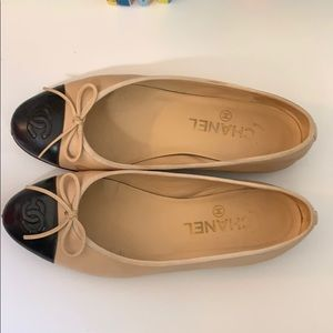 Chanel ballet flats size 36 beige with black